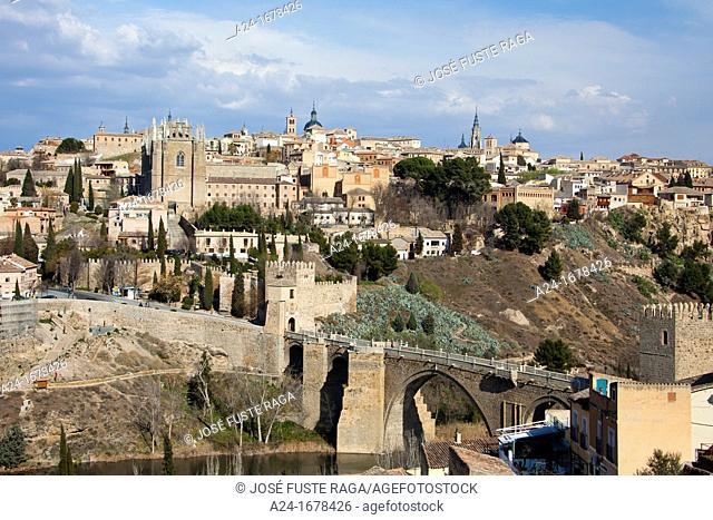 Sapain , Toledo City, Tajo River , San Martin Bridge and San Juan de los Reyes Church