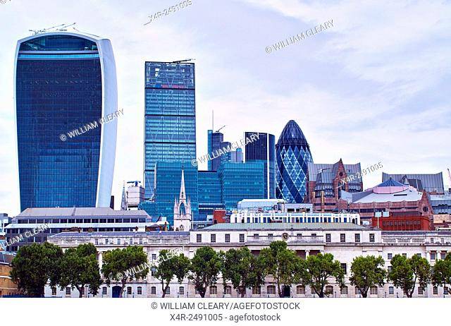 Modern London Skyline, including 30 St Mary Axe, known informally as the Gherkin, and the Leaden Hall building, also known as the cheesegrater