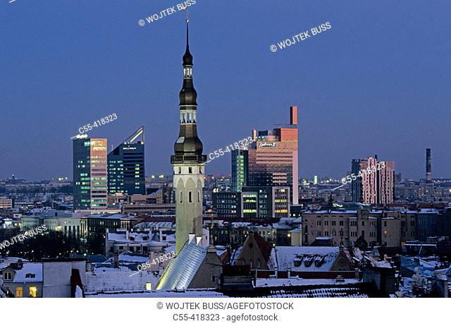 Town Hall tower, old town from Toompea. Tallinn, Estonia