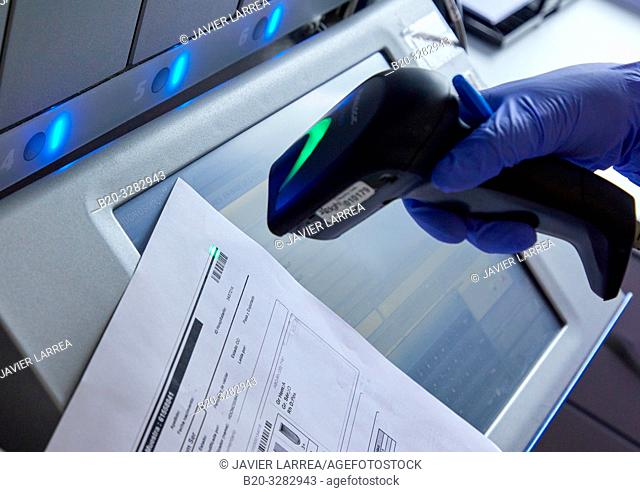 Barcode reader, Clinical analysis, Hematology, Hospital Donostia, San Sebastian, Gipuzkoa, Basque Country, Spain
