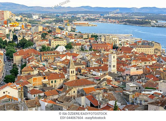 Aerial top day View of Sibenik town and its old houses in Sibenik, Croatia