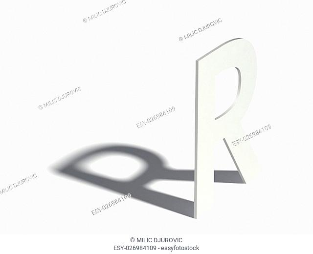 Drop shadow font. Letter R. 3D render illustration isolated on white background