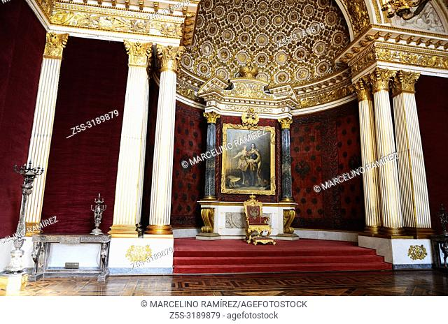 The Small Throne Room was created by Auguste de Montferrand in 1833. The State Hermitage Museum. Saint Petersburg, Northwestern, Russia