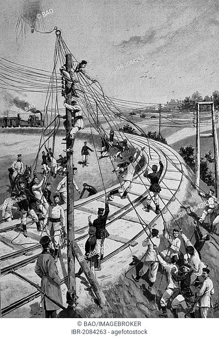 Transfer of a captive balloon over a railway line, woodcut, 1888, historic engraving