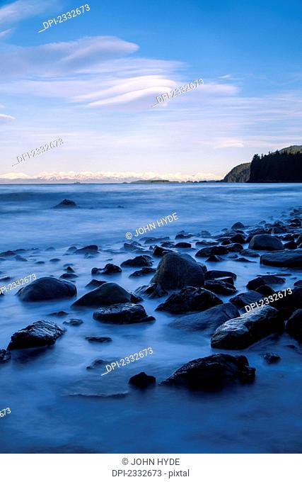 A rocky shoreline exposed during low tide;Juneau alaska united states of america
