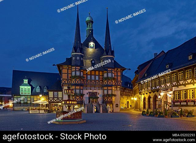 Town hall at the market square in Wernigerode, Harz, Saxony-Anhalt, Germany