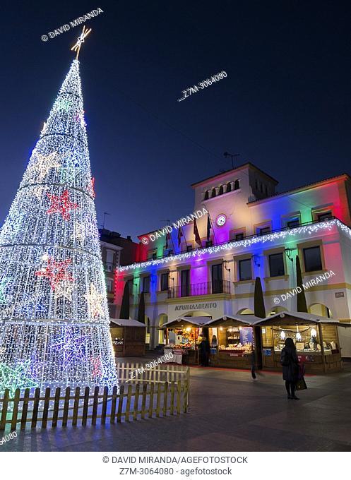 Town hall and christmas tree. San Sebastián de los Reyes. Madrid. Spain