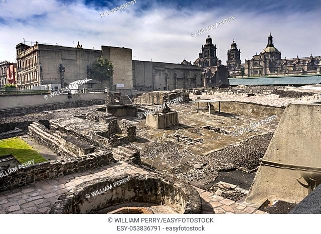 Metropolitan Cathedral Templo Mayor Zocalo Mexico City Mexico. Aztec Temple created from 1325 to 1521. Temple stones used to create cathedral