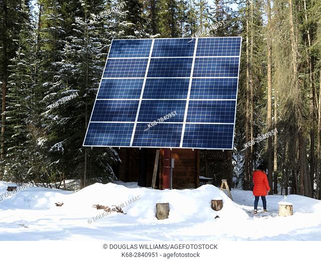 A solar panel in Winter in Jasper National Park, Alberta, Canada