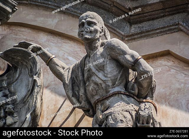Façade sculptural detail of Palazzo Litta. Corso Magenta, Milan, Lombardy, Italy, Europe