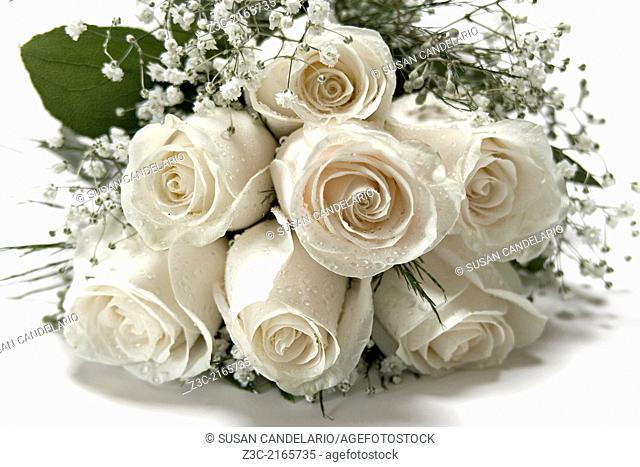 A floral bouquet of White Roses and baby breath covered with water dew