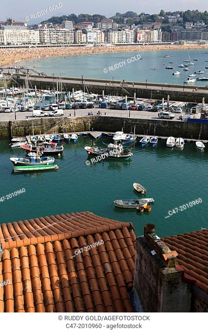 Fishing boats at port. San Sebastian (Donostia), Basque Country, Spain