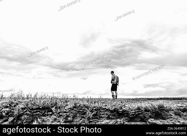 Man exploring the official nature reserve area and swamp 'The Drowned Land of Saeftinghe' in the southwest Netherlands, located in eastern Zeelandic Flanders