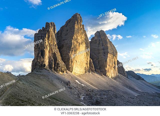 The Three Peaks of Lavaredo at sunset in summer. Sesto Dolomites, Trentino Alto Adige, Italy