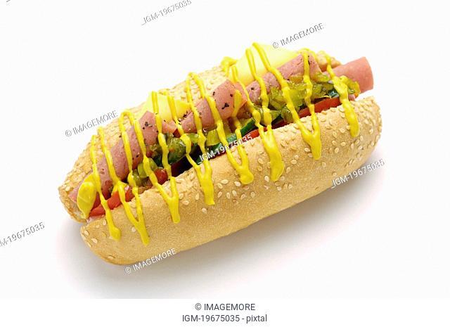 Hotdog with mustard and ketchup