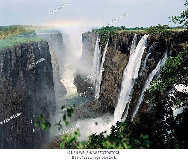 Victoria Falls seen from Zambia. Zimbabwe