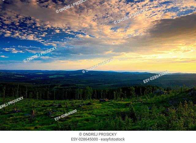 Beautiful morning sunrise in the Sumava Mountain, Czech Republic