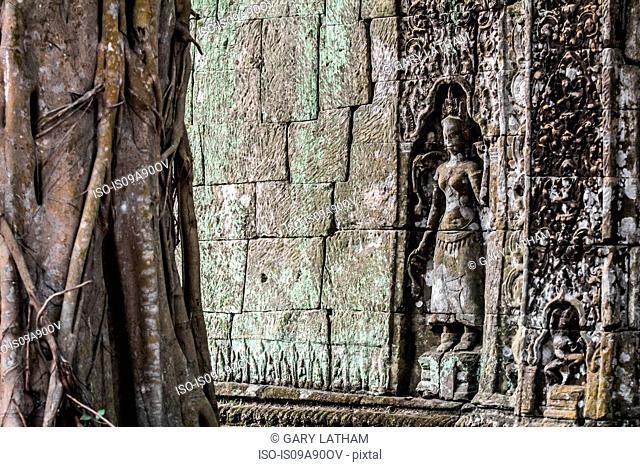 Carving at Ta Prohm Temple ruins at Angkor Wat, Siem Reap, Cambodia