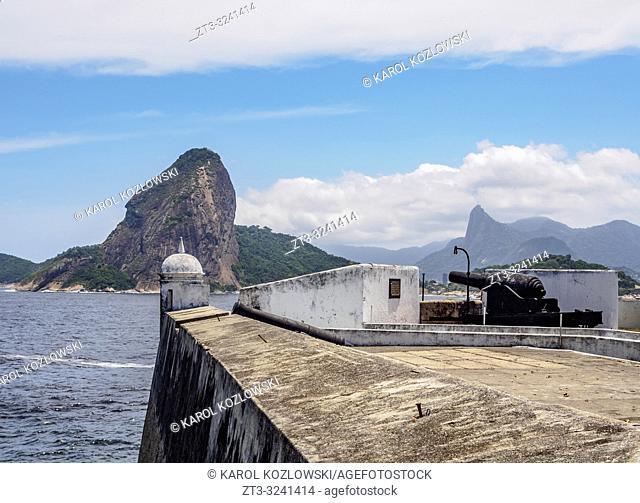 View over Santa Cruz da Barra Fort towards Sugarloaf Mountain, Niteroi, State of Rio de Janeiro, Brazil