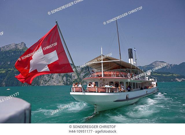 Switzerland, Europe, lake Lucerne, central Switzerland, canton, UR, Uri, steamboat, Swiss, flag, lake, Swiss flag