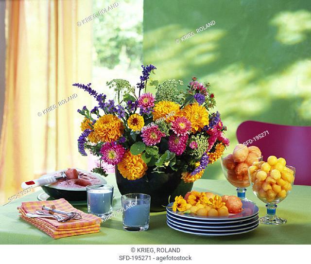 Arrangement of asters, dahlias, lavender etc