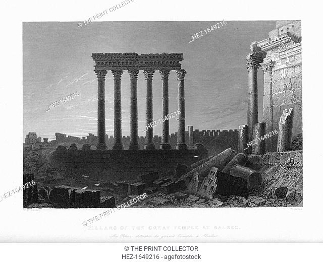 'Pillars of the Great Temple at Balbec', 1841. Roman ruins at the ancient site of Baalbek in the Lebanon. Illustration from Syria, the Holy land and Asia Minor