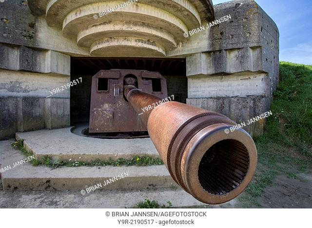 German 150mm gun at the Longues-sur-Mer Battery - part of the D-Day German defense system, Normandy France