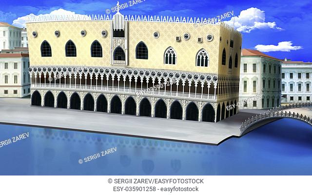 Digital painting of the Doge's Palace in Venice, Italy