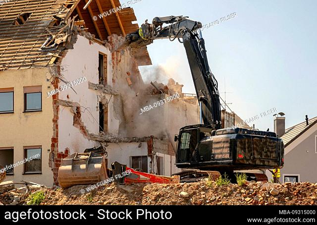 Demolition work on a residential building