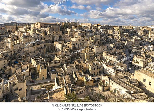 The Sassi quarter from an elevated point of view during the day. Matera, Basilicata region, Italy