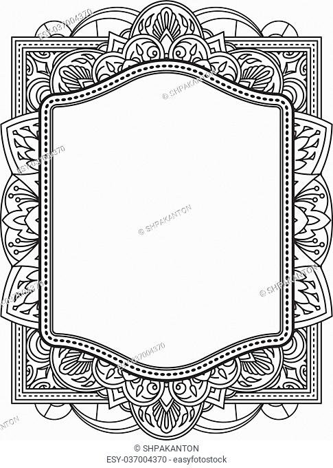 Ethnic template for design wedding invitations and greeting cards. Henna flowers mehndi elements of vintage patterns. Indian or Asian motif