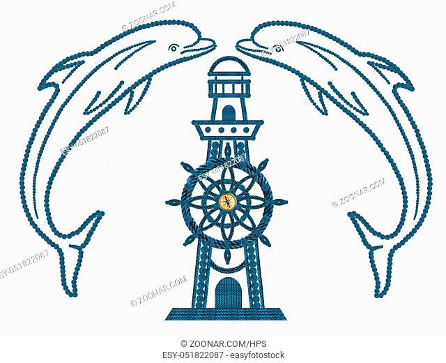 Delfine Kompass Steuerrad und Leuchtturm aus Seilen