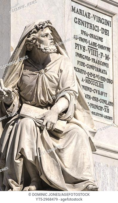 The statue of Prophet Isaiah situated on the Column of the Immaculate Conception, Piazza Mignanelli, Rome, Italy, Europe