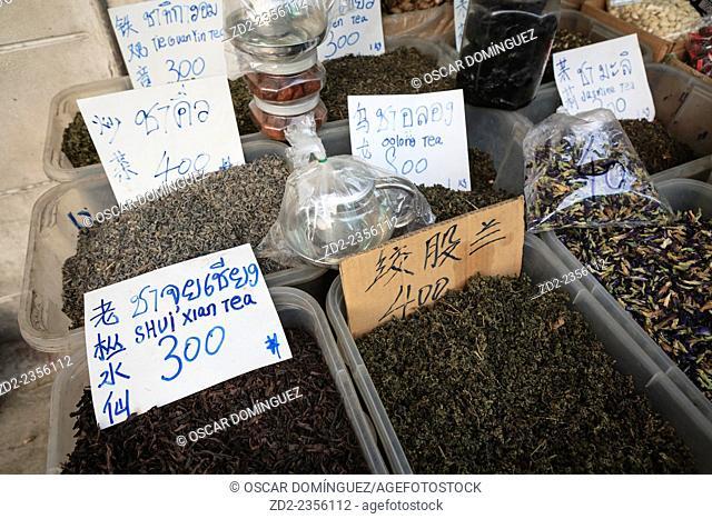 Tea market stall. Chinatown. Bangkok. Thailand
