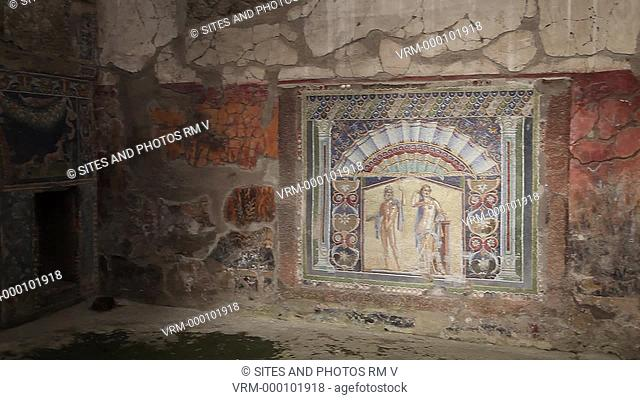 Interior, PAN. The house was named after a mosaic that portrays the Roman God of the Sea Neptune with his wife, Amphitrite, in polychrome tesserae