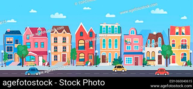 Old european town cartoon vector illustration panorama. Horizontal traditional cityscape from road and cars, street in sunny day