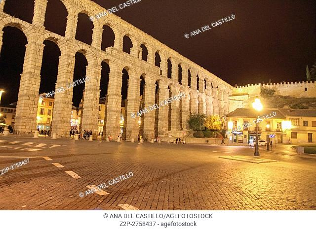 The famous ancient aqueduct in Segovia at night, Castilla y Leon, Spain