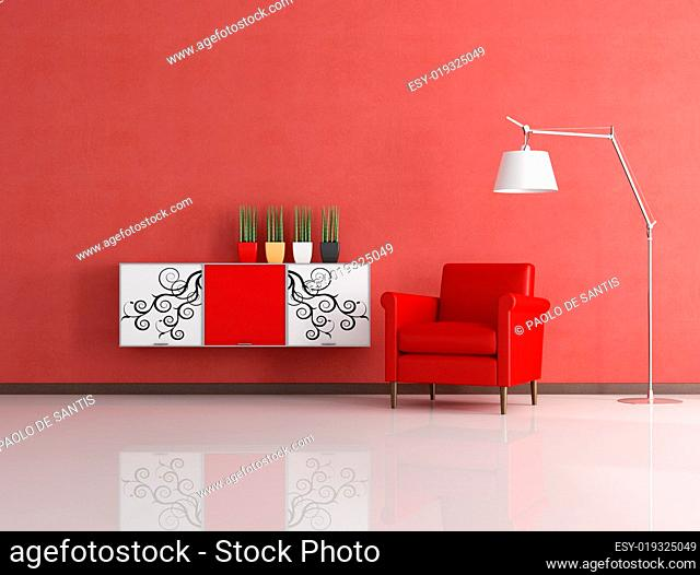 modern red reading room