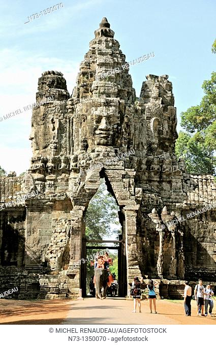 Cambodia, Siem Reap, Angkor World Heritage list of UNESCO, South Gate of Angkor Thom