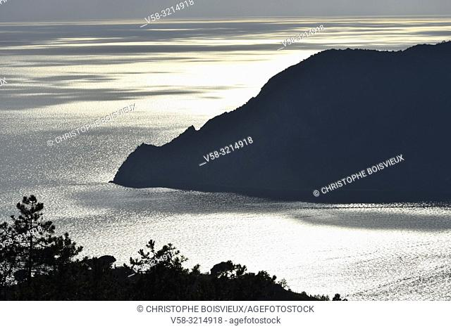 Italy, Liguria, World Heritage Site, The Cinque Terre National Park from above