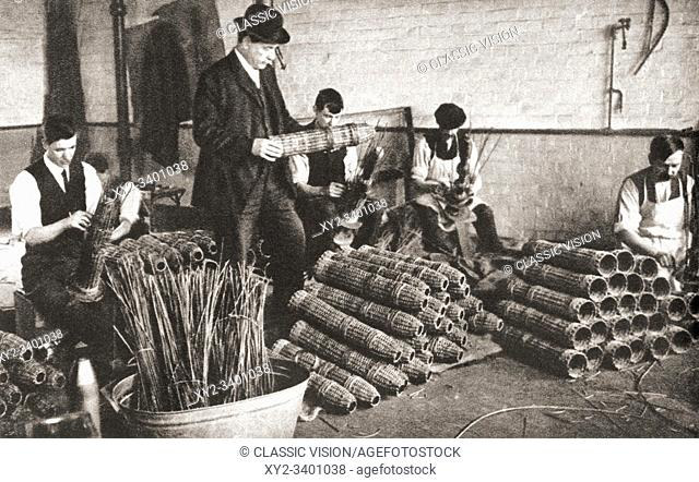 A Nottingham factory during World War One, workers making shell baskets in which projectiles were packed for safe transport