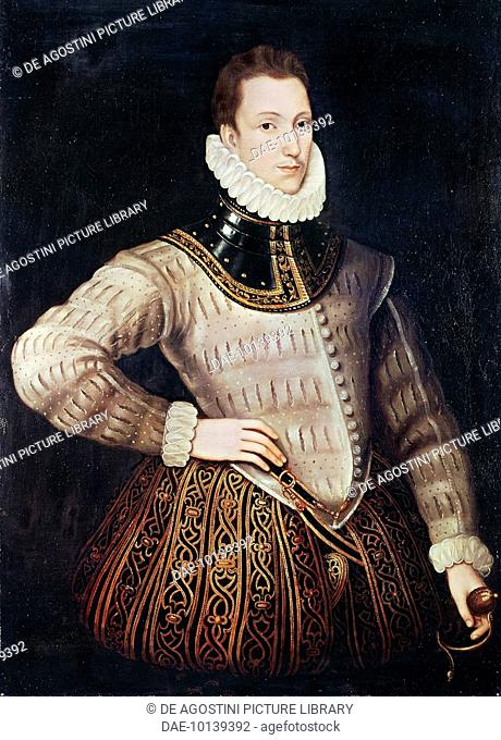 Portrait of Philip Sidney (Penshurst, 1554-Zutphen, 1586), English poet, courtier, and soldier, ca 1576, painting by unknown artist, oil on panel, 114x84 cm