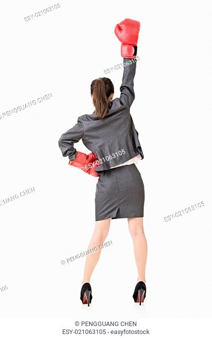 Asian business woman with boxing gloves