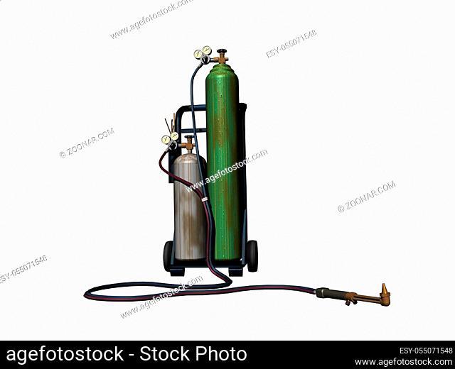 Schweissgerät mit Stahlflaschen auf Karre