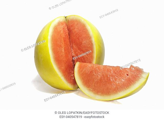 natural yellow watermelon on a white background