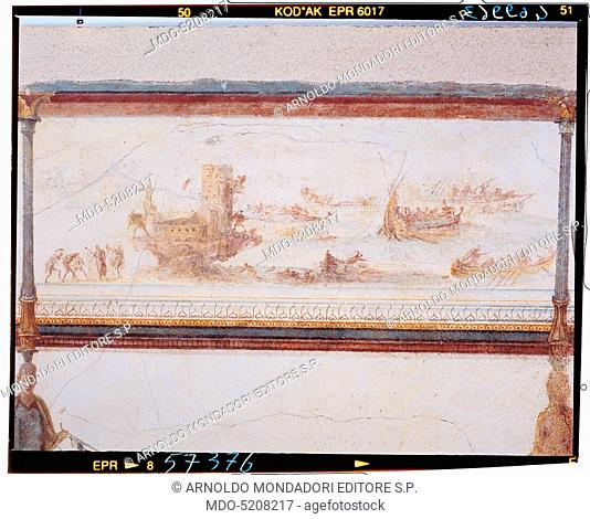 Frieze with naval battle, by Unknown artist, 25, 1st Century, mural