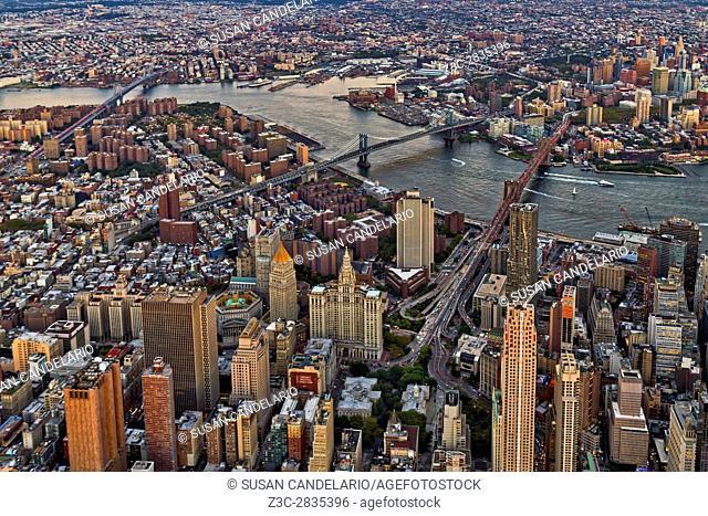 New York City Aerial Bridges - Aerial view of New York City with the Brooklyn, Manhattan and Williamsburg bridges