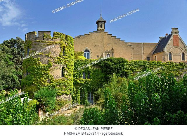 France, Herault, Servian, Chateau Hermitage de Combas, tower and facade of the castle covered with Virginia creeper