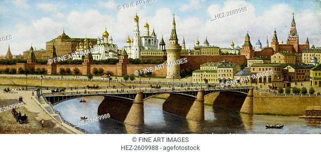 View of the Kremlin from the Moskvoretsky Bridge. Artist: Vereshchagin, Pyotr Petrovich (1836-1886)