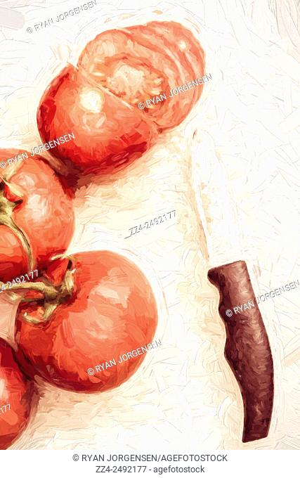 Creative digital painting of a sliced tomato beside whole tomatoes. Vintage cooking artwork